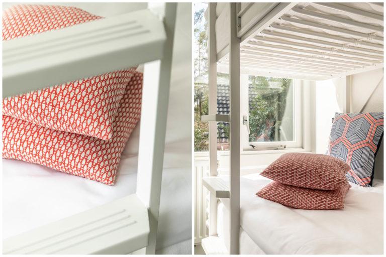 Woudstee Cornelia kleine slaapkamer met stapelbed en heerlijke kussens