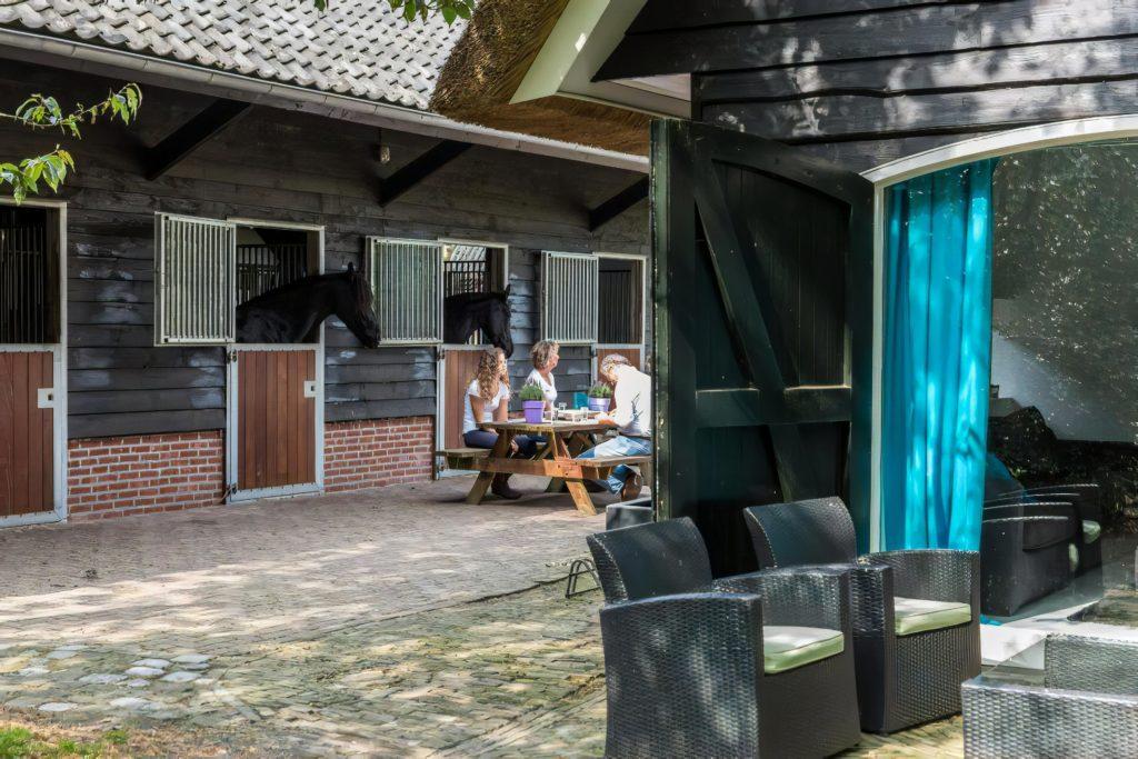 Woudstee luxe vakantiehuis Anthonia terras & stallen overnachten op de Veluwe vakantie met je paard