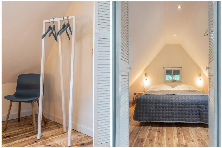 Antonia slaapkamer met kledingrek bij Woudstee