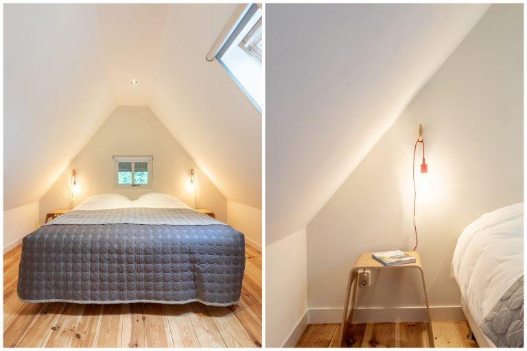 Antonia slaapkamer met luxe tweepersoonsbed en nachtkastje bij Woudstee