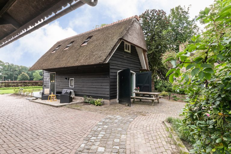 Antonia zijaanzicht vanaf de paardenstallen huis met oprit en picknicktafel bij Woudstee